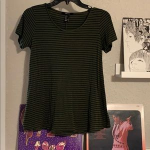 Forever 21 green and black stripped tee
